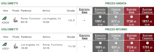 Tariffe Alitalia